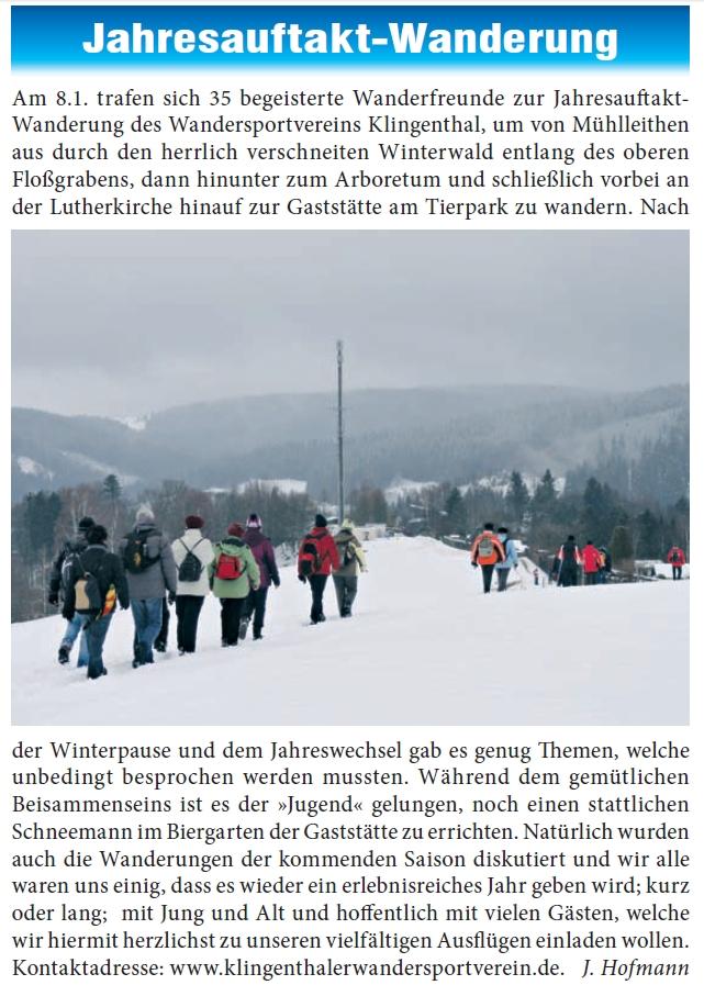 """Artikel über diese Wanderung in der """"Klingenthaler Zeitung"""""""